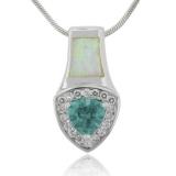 Alexandrite and White Australian Opal Silver Pendant