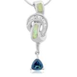 White Australian Opal And Alexandrite Silver Pendant