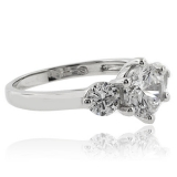3 Round Cut Simulated Diamond Engagement Ring