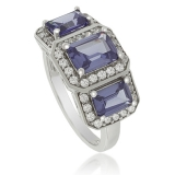 3 Emerald-Cut Tanzanite Sterling Silver Ring