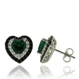 Gorgeous Emerald Earrings in Heart Shape With Zirconia in Sterling Silver.