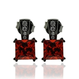 Gorgeous Princess Cut Fire Opal Earrings with Simulated Diamonds and Oxidized Silver
