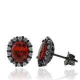 Oxidized Silver Earrings With Simulated Diamonds And Oval Cut Fire Opal Stones
