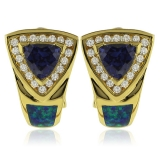 Gold Plated Earrings with Australian Opal and Tanzanite Gemstone In Trillion Cut