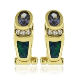 Gold Plated Earrings with Australian Opal and Tanzanite Gemstone Oval Cut.