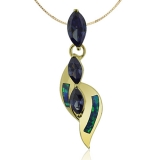 Gold Plated Pendant With Marquise Cut Tanzanite