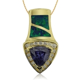 Gold Plated Pendant with Opal and Tanzanite Gemstone