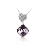 Light Amethyst Color Swarovski Elements Heart Pendant