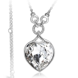 Swarovski Elements White Heart Gold Plated Necklace