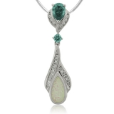 Pear Cut Alexandrite withe opal Silver Pendant