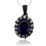 Oval Cut Tanzanite & Black Silver Pendant With Zirconia