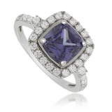 Square-Cut Tanzanite 925 Sterling Silver Ring
