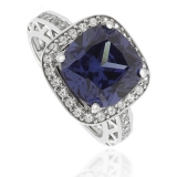 Cushion-Cut Tanzanite 925 Sterling Silver Ring
