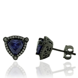 Beautiful Trillion Cut Tanzanite Earrings with Zirconia In Black Silver.