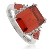 Emerald Cut Fire Opal Silver Ring