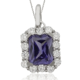 Emerald Cut Tanzanite & Silver Pendant