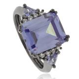 Emerald Cut Tanzanite Ring with Black Silver