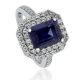Emerald-Cut Tanzanite 925 Silver Ring