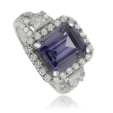 Emerald-Cut Tanzanite 925 Sterling Silver Ring