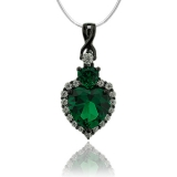 Oxidized Silver Pendant With Heart Shape Emerald and Simulated Diamonds