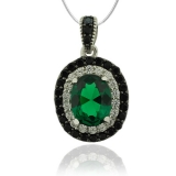Sterling Silver Pendant With Oval Cut Emerald and Simulated Diamonds