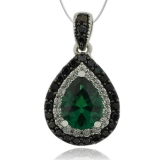 Great Pear Cut Emerald Pendant With Simulated Diamonds