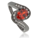 Oval-Cut Mexican Fire Opal Black Silver Ring