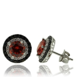 Round Cut Fire Opal Earrings In Sterling Silver with Zirconia