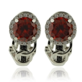 Beautiful Round Cut Fire Opal Earrings With Sterling Silver
