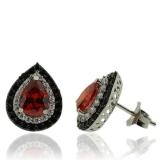 Pear Cut Fire Opal Earrings With Sterling Silver