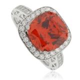 Fire Opal Silver Ring Cushion Cut