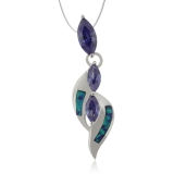 3 Stone Marquise Cut Tanzanite and Opal Pendant