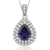 Drop Cut Tanzanite & Silver Pendant