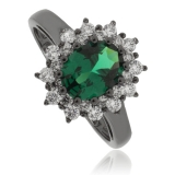 Princess Kate Emerald Black Silver Ring