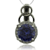 Round Cut Tanzanite & Silver Pendant with Zirconia