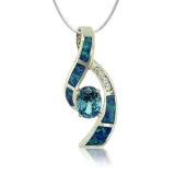 Steling silver and Oval Cut Topaz pendant With Simulated Diamonds