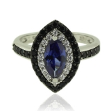Marquise Cut Tanzanite Silver Ring With Simulated Diamonds