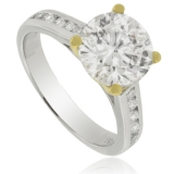 10 mm Round-Cut Simulated Diamond Engagement Ring in Sterling Silver