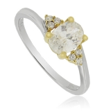 Ring with Simulated Diamonds in Sterling Silver