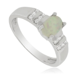 White Opal and Sterling Silver Ring with zirconia