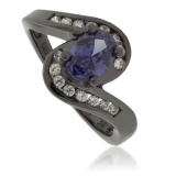 Oval-Cut Tanzanite Oxidized Silver Ring
