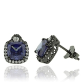 Beautiful Tanzanite Earrings with Zirconia In Black Silver