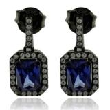 Emerald Cut Tanzanite Earrings with Zirconia In Black Silver.