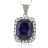 Silver Pendant with Tanzanite & Zirconia Gemstones.