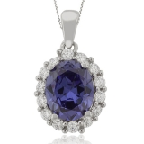 Oval Cut Tanzanite Silver Pendant