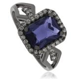 Tanzanite Black Silver Ring