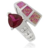 Trillion Cut Ruby Opal Ring