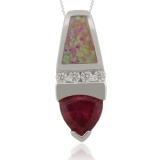 Silver Pendant with Trillion Cut Ruby