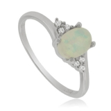 Amazing White Opal and Sterling Silver Ring with Zirconia