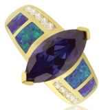 Wonderful Gold Plated Ring With Opal and Marquise Cut Tanzanite Gemstone